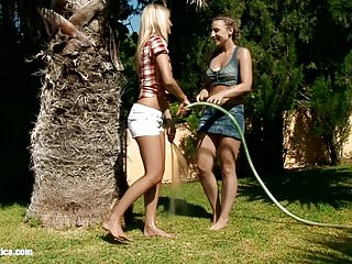 Lesbian extremes featuring squirts - Seduced gardener featuring lena and morgan splash each other