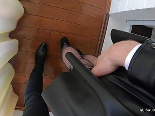 Babe in pantyhose cum Sexy babe in pantyhose sucks dick and fucking with boss