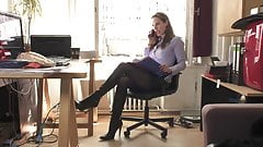 Karin in the office boots