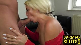 Blonde UK babe riding daddy Pascals hard dick after nasty BJ