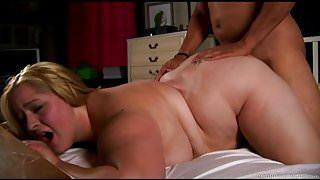 Beautiful big tits blonde BBW enjoys a hard fuck & a facial