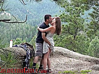 Find a mature lover Girlfriend bent over and fucked outdoors by mature lover