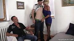 Young Czech blonde cuckolds old husband