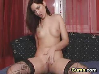24 inche cock cums - Babe cleaning cock with her tongue
