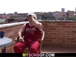 Gay geezer porn - Horny old geezer licks and fucks her young pussy