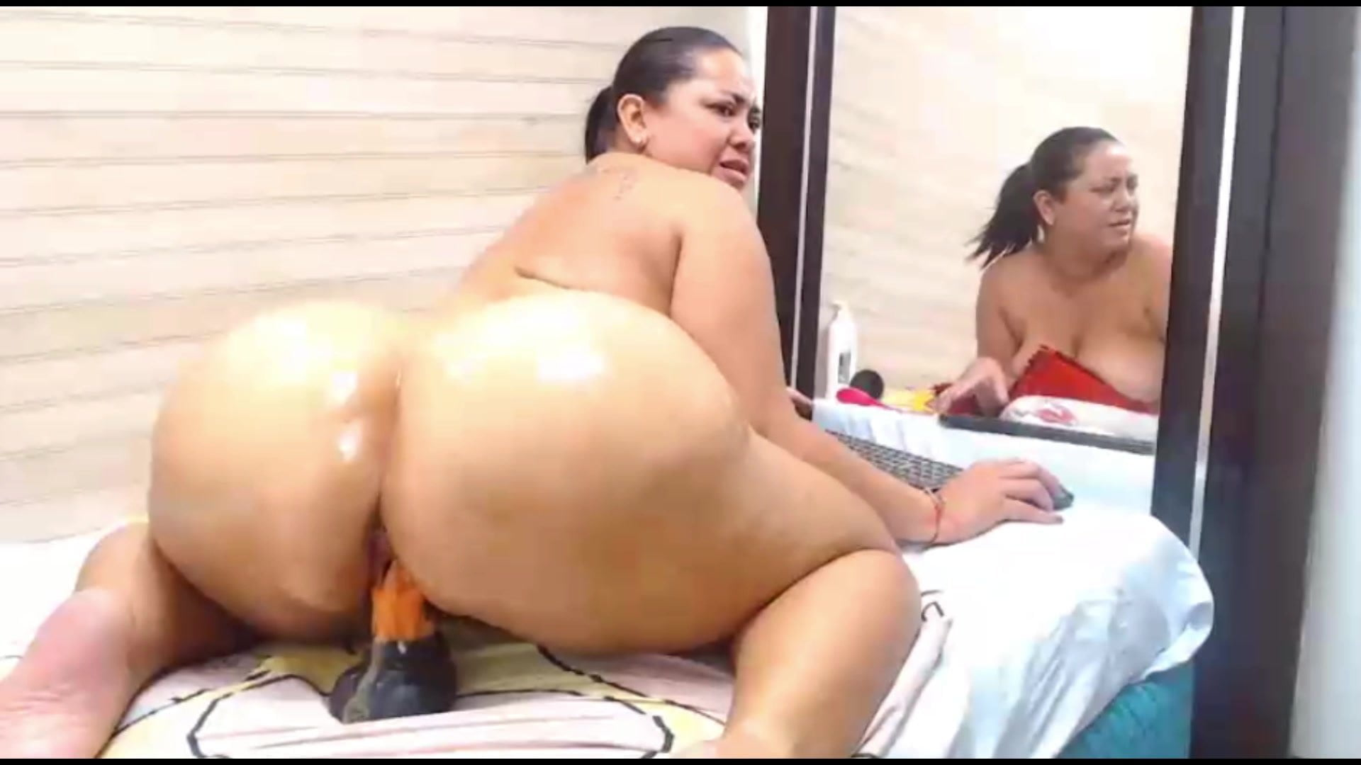 Latina Fucking Dildo Bathroom