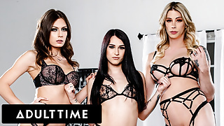 Seductive Trans Babes Explode With Cum In HOT 3-Way