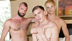 Young Twink Step Son's Teaching Threesome With Hunk Step Dad