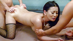 Asian mom lands a powerful cock up her furry snatch