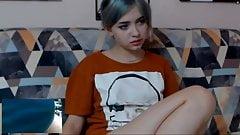Cute webcam girl watches me cum