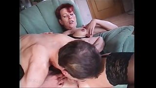 Short haired Dutch mature has threesome