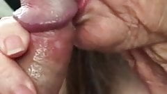 Granny just swallows cum