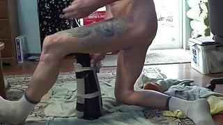 Sexy pervert body modificated slut dildoing his prolapse