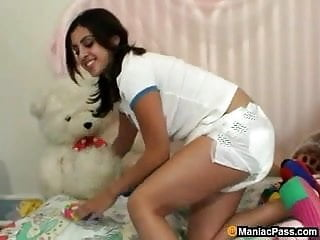Diaper wearing teens Diaper cutie having solo fun