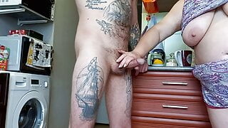 She jerks off, gives a blowjob and jerks off my cock again