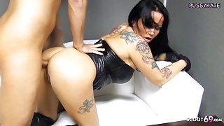 Anal Drip Sex from German Stepmom in Latex with Teen