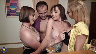 Sex party with desperate moms and single stepson