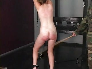 Young girls being pussy shaving - Cute young shaved pussy brunette slave girl is caned and spanked by master