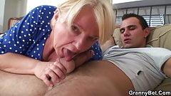 Busty blonde grandma spreads legs for a stranger