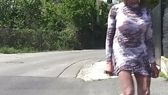 transparent dress in the city
