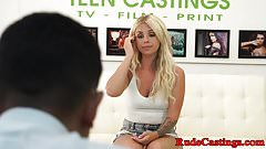Petite teen filmed on casting couch