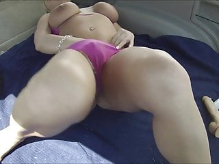 Busty daughter in car Busty blonde in car