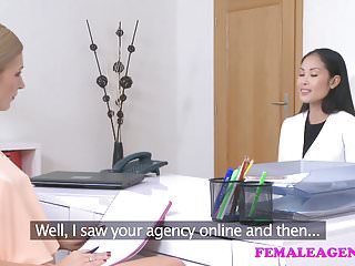 Asian model show - Female agent sexy asian model licks and tastes her first pus