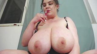 Chubby girl jiggles her gigantic udders on cam