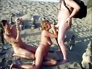 Fucking in beach naturally - Nude beach - mff threesome