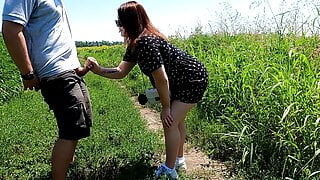 The mistress jerks off a guy in a chastity belt