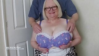 A man squeezes Sally's big mature tits