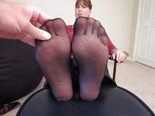 Cum on here face Milf get a cum on here nylon feet