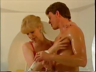 Vintage cleaning ads - Granny helping young guy to get clean in the shower ttt
