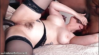 Hot redhead milf anal by two BBC, interracial