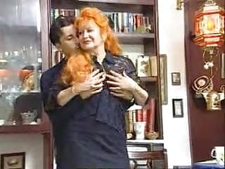 Naughty redhead - Naughty redhead granny satisfied by young guy