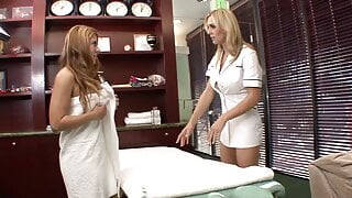 Sexy busty MILF Tanya Tate massages lesbian Stormie White