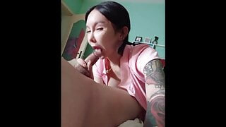 Ladyboy prostitute is a filthy cocksucker and pleasing a man