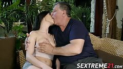 Skinny Nikki Fox takes pictures and fucks old cock for cum