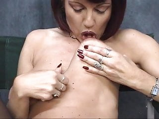 Utube mature floppy tits Mature brunette with floppy tits spreads her shaved pussy for dudes fingers
