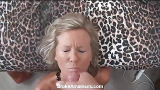 Amateur milf casting video ends with facial