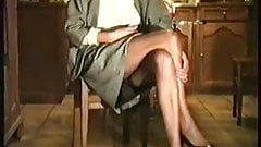 Hairy Milf Sitting and Pissing in a Grey Suit and No Panties