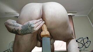Chubby Dildo fun with Cum in Ass