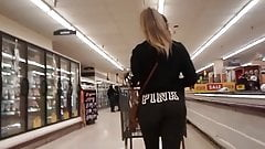 Ass cheeks walking in yoga pants