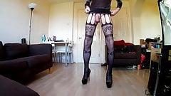 Stockings, heels and cum