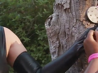 Lestai bondage - Black huge-boobs-babe in outdoors bondage-treatment