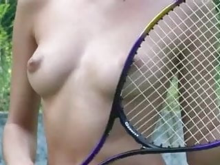 Dark nude women - Nude women playing tennis