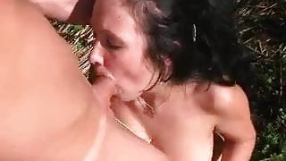 Nude party video with chick in outdoor oral and group fuck