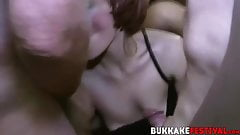 Busty Porscher Wells and Missy Kink doggystyle group fucking