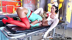 Oiled up lesbian nurse sluts in sexy outfits love scissoring