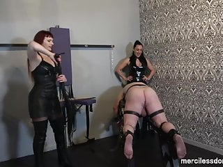 Immobile fetish Caned for pleasure -spanking and flogging of immobilized ass